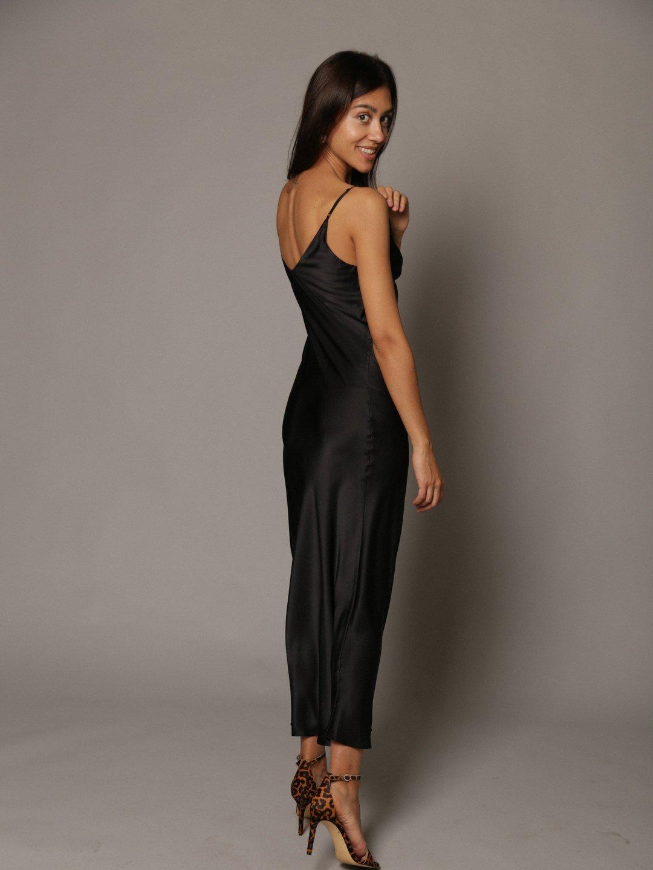 Платье-комбинация из шёлка в чёрном цвете_3
