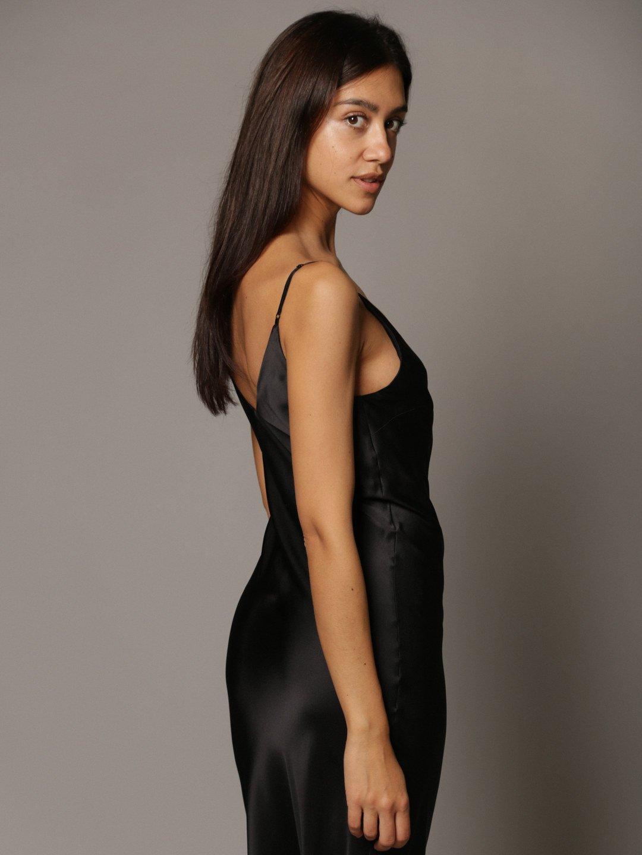 Платье-комбинация из шёлка в чёрном цвете_5