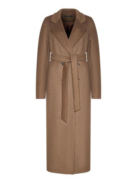 Утепленное двубортное пальто с английским воротником в цвете табак