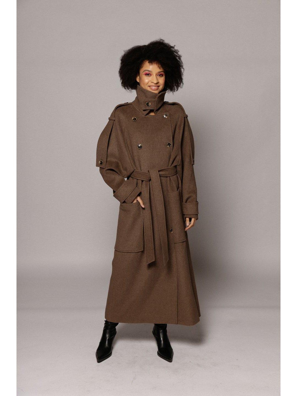 Демисезонное пальто Пушкин в цвете табак _2
