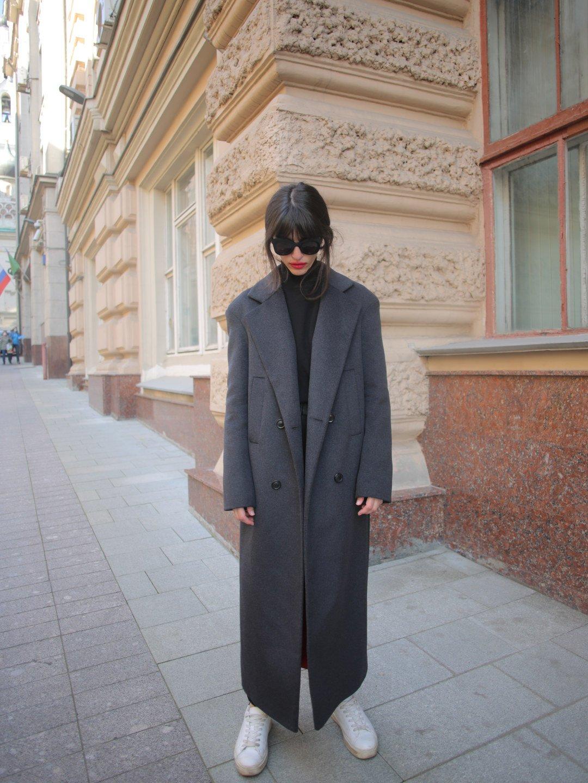 Утепленное батино пальто в цвете графит_1