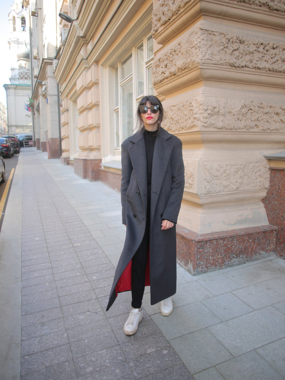 Утепленное батино пальто в цвете графит_3