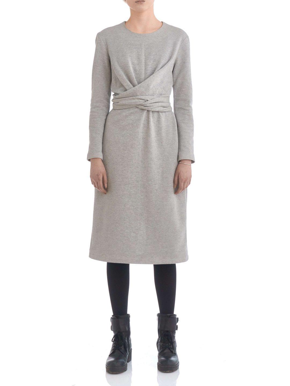 Платье из люрекса с завязками серое_1