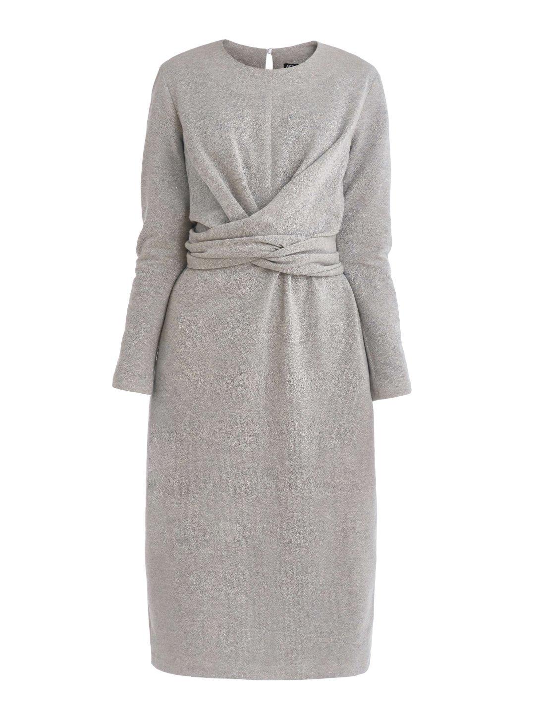 Платье из люрекса с завязками серое_0