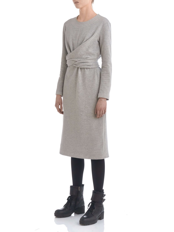 Платье из люрекса с завязками серое_2