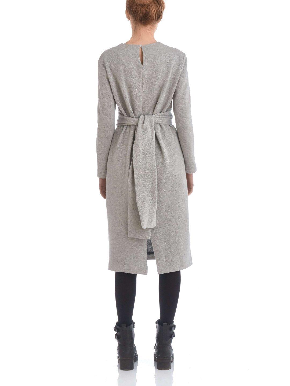 Платье из люрекса с завязками серое_3