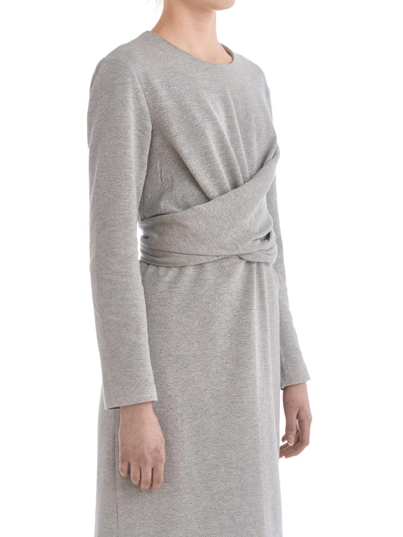 Платье из люрекса с завязками серое_4