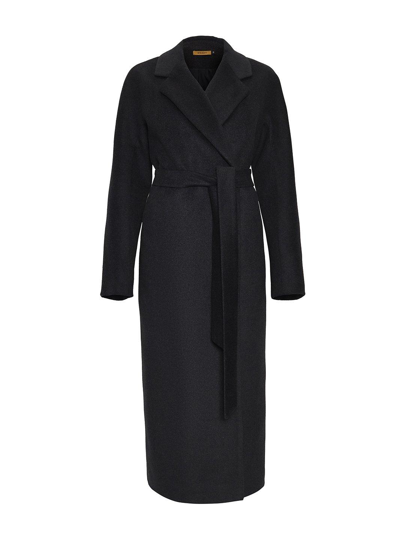 Утеплённое пальто c английским воротником в цвете графит_0
