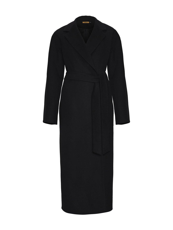 Утеплённое пальто c английским воротником в чёрном цвете_0