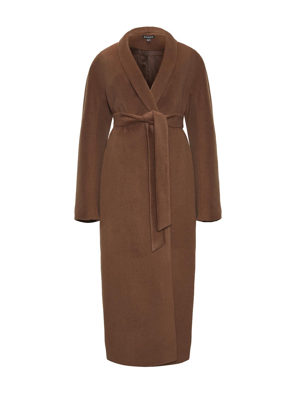 Утепленное пальто с воротником-шалькой в цвете кленовый сироп_0
