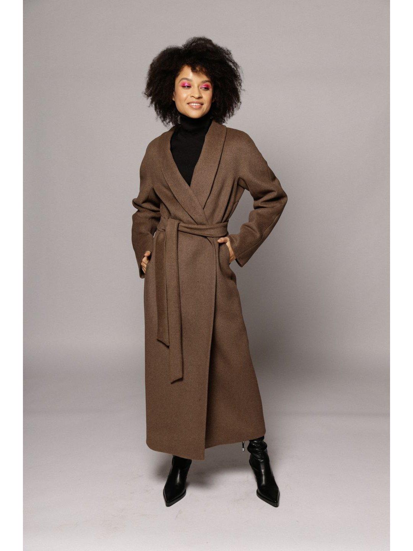 Утепленное пальто с воротником-шалькой в цвете табак_1