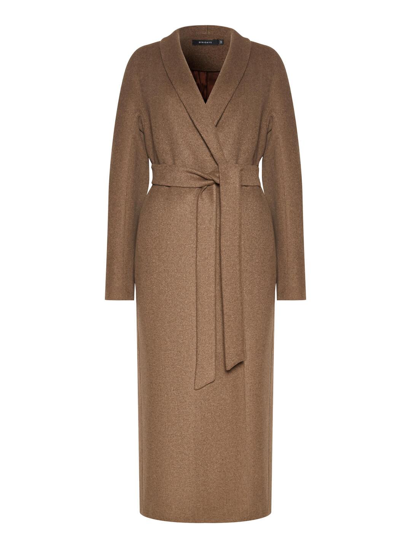 Демисезонное пальто с воротником-шалькой в цвете табак_0