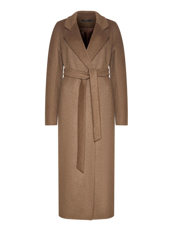 Утеплённое пальто c английским воротником в цвете табак_0