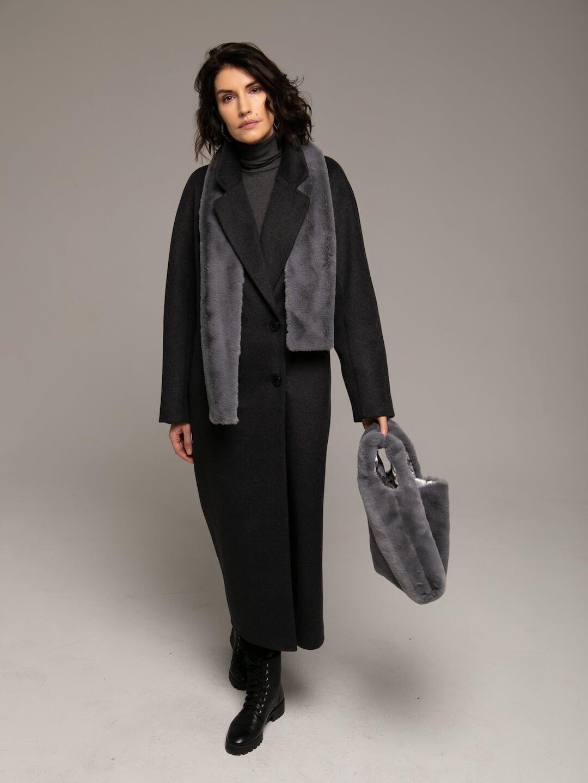 Утеплённое двубортное пальто в цвете графит_1