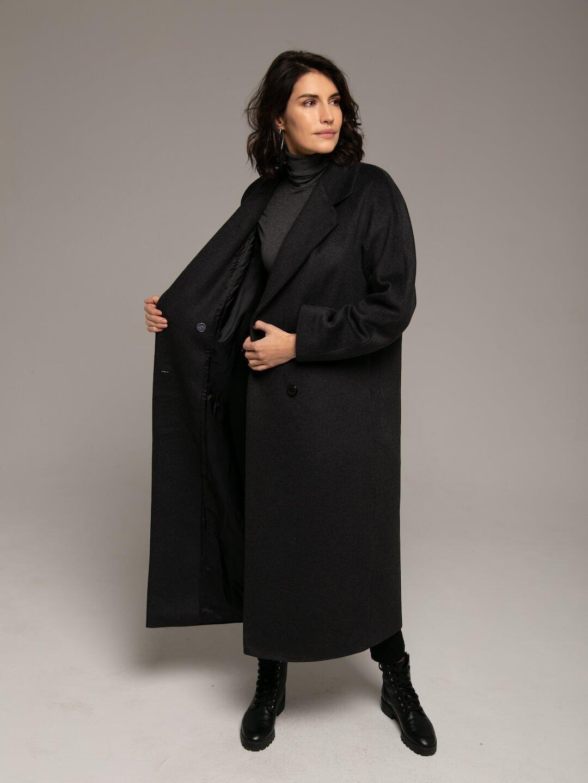 Утеплённое двубортное пальто в цвете графит_3