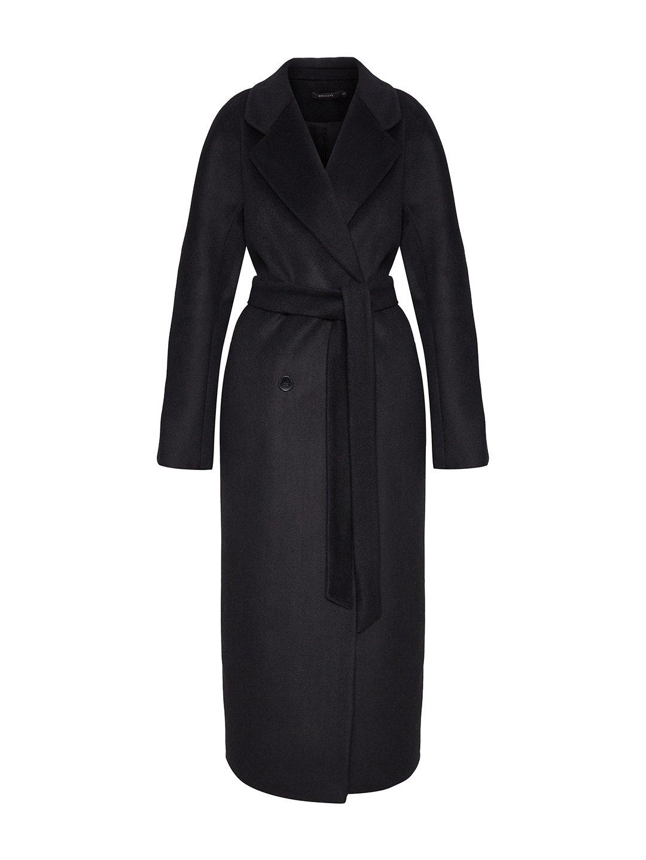 Утеплённое двубортное пальто в черном цвете_0
