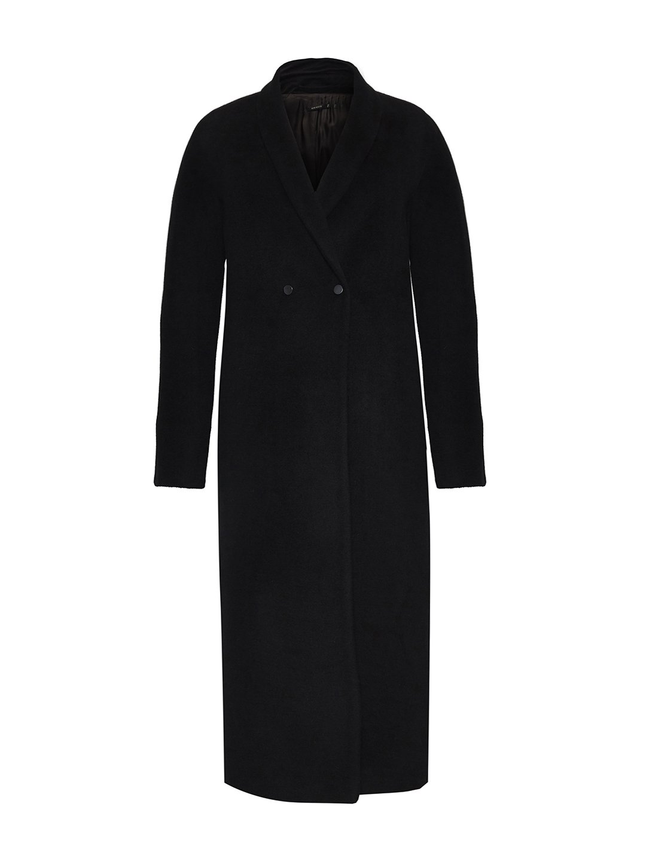 Утеплённое пальто на кнопках в черном цвете_0