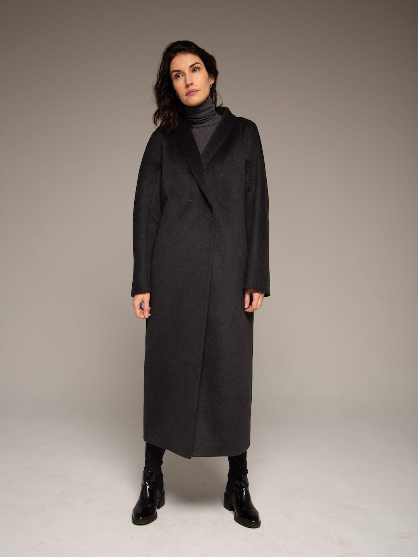 Утеплённое пальто на кнопках цвете графит _1