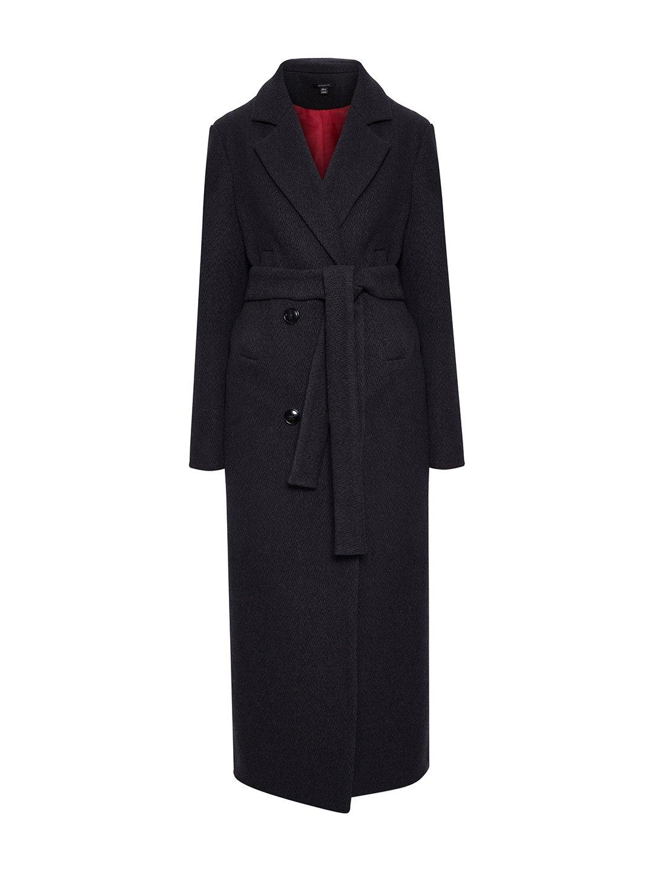 Утепленное батино пальто в цвете графит_0
