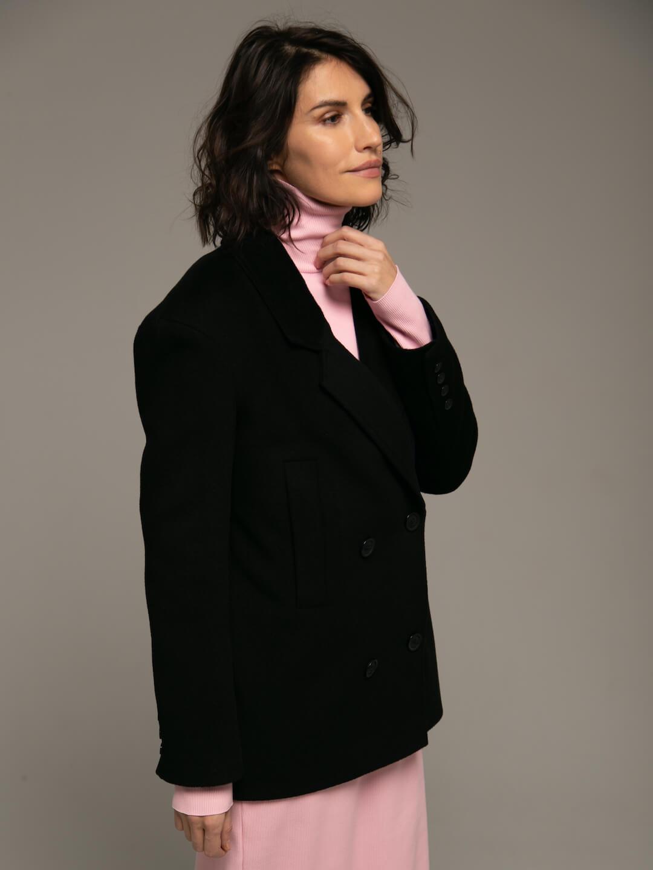 Утеплённое укороченное батино пальто в чёрном цвете_2