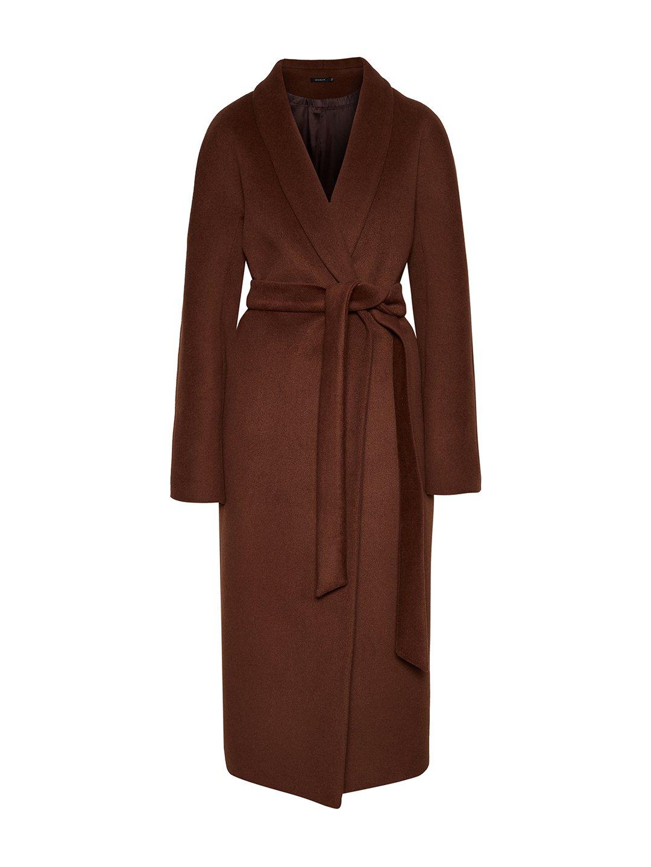 Утеплённое пальто с воротником-шалькой в цвете миндаль_0