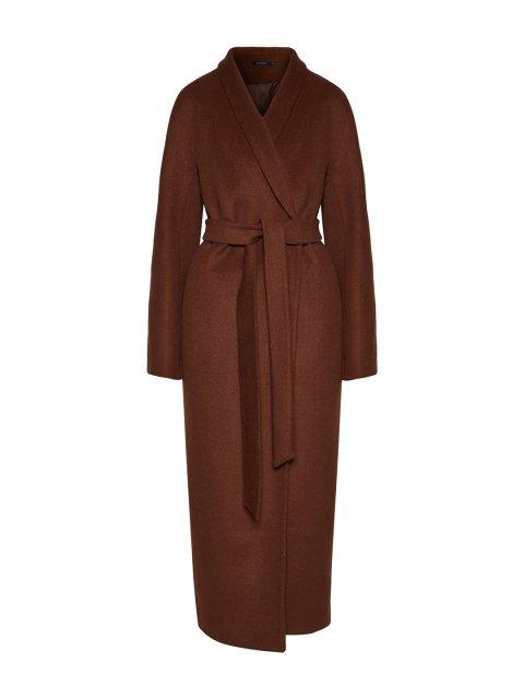 Пальто с пуговицами и воротником-шалькой