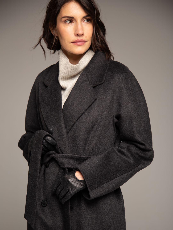 Демисезонное двубортное пальто в цвете графит_1