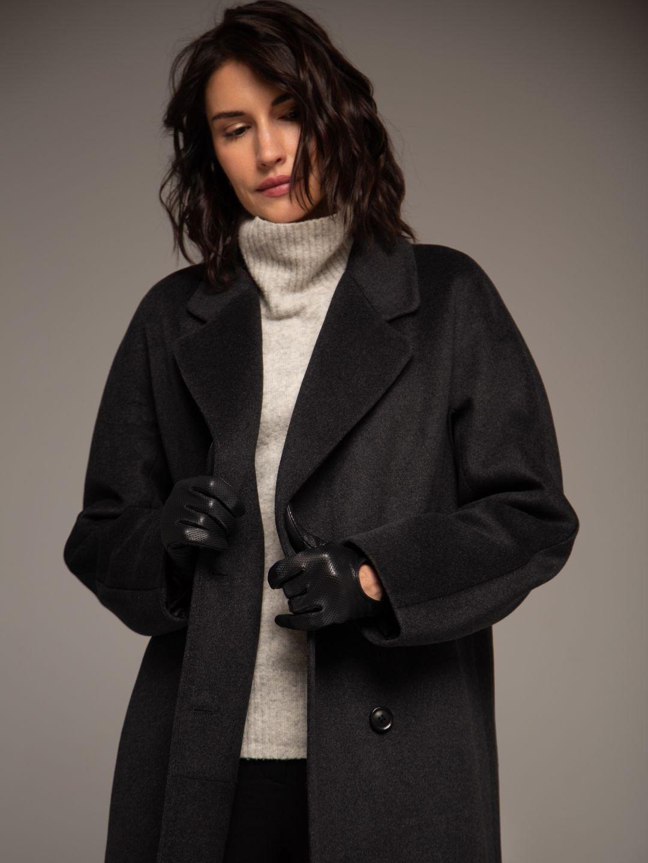 Демисезонное двубортное пальто в цвете графит_2