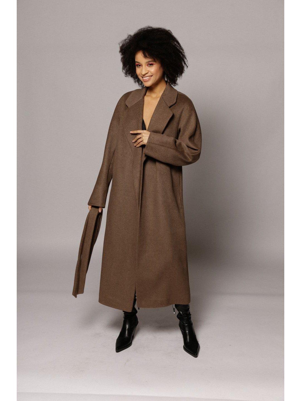 Демисезонное пальто с английским воротником в  цвете табак_1