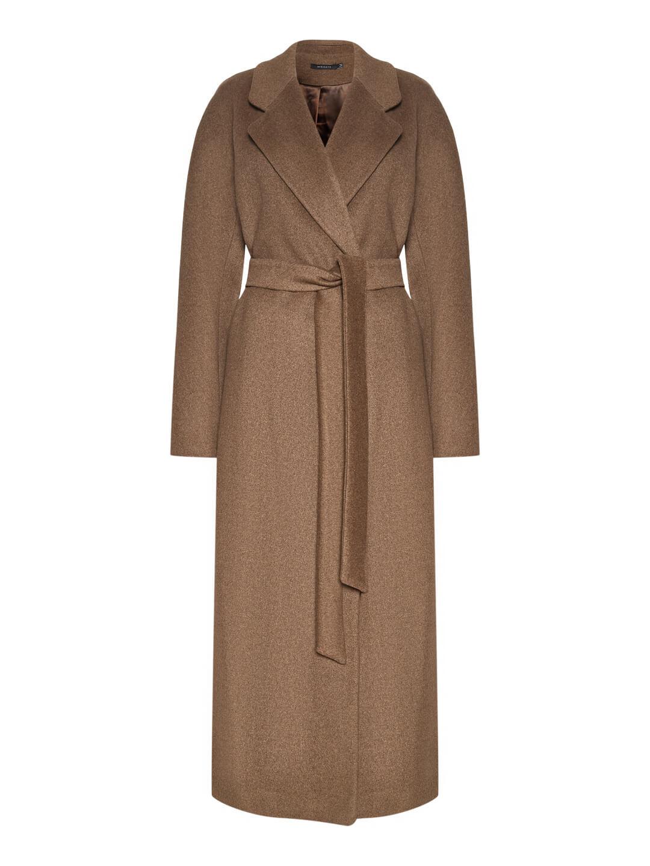 Демисезонное пальто с английским воротником в  цвете табак_0