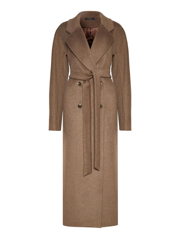 Демисезонное двубортное пальто в табачном цвете _0