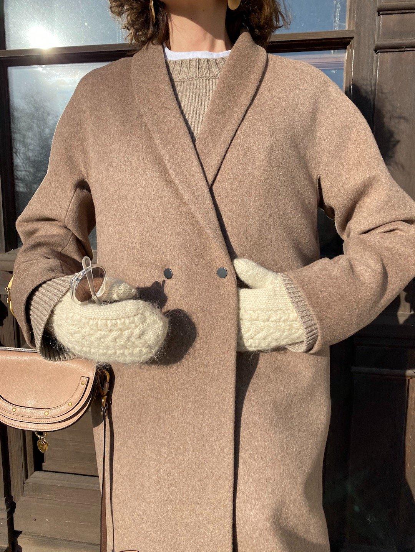 Демисезонное пальто на кнопках в цвете ирландский крем_0