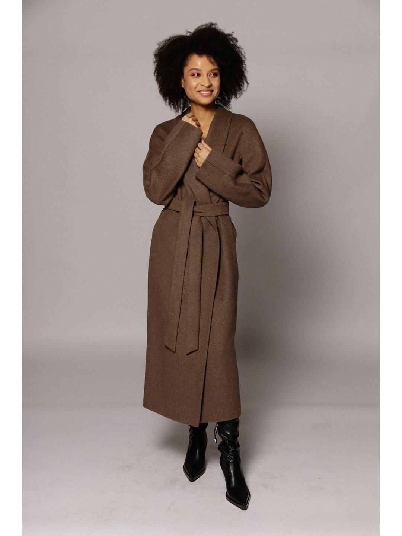 Демисезонное пальто с воротником-шалькой в цвете табак_1