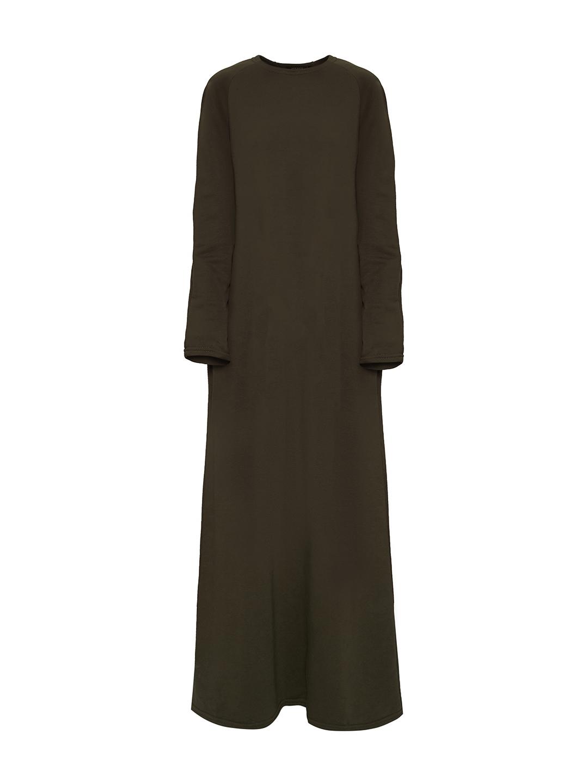Трикотажное платье в пол цвета хаки_0