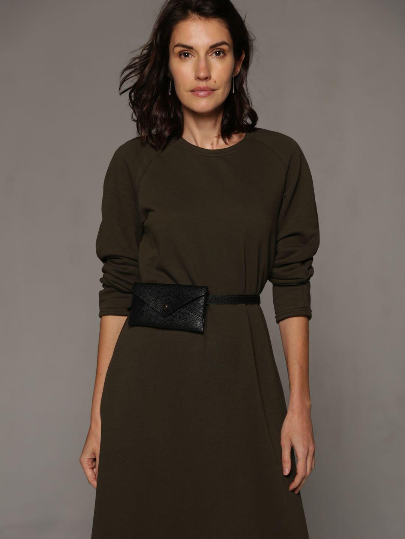 Трикотажное платье в пол цвета хаки_1