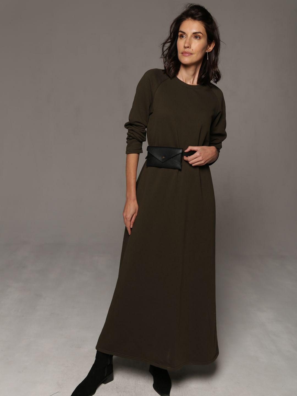 Трикотажное платье в пол цвета хаки_2
