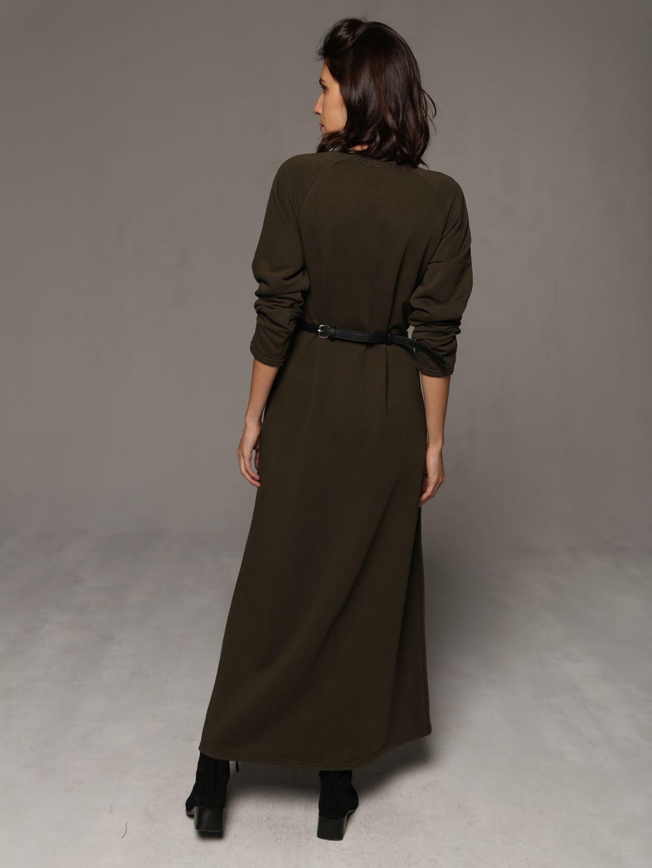 Трикотажное платье в пол цвета хаки_3