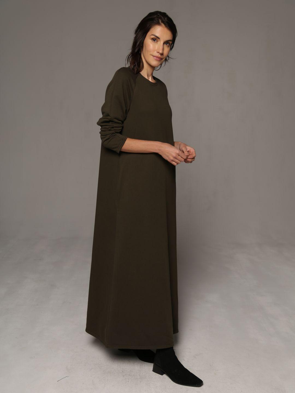 Трикотажное платье в пол цвета хаки_4