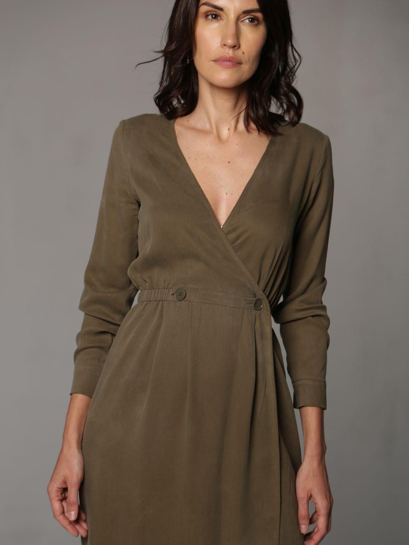 Платье-миди цвета хаки_2