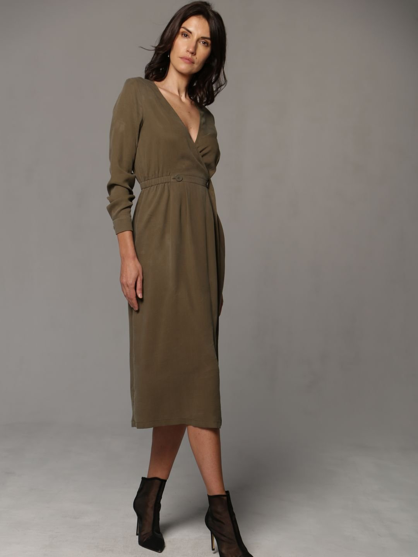 Платье-миди цвета хаки_3