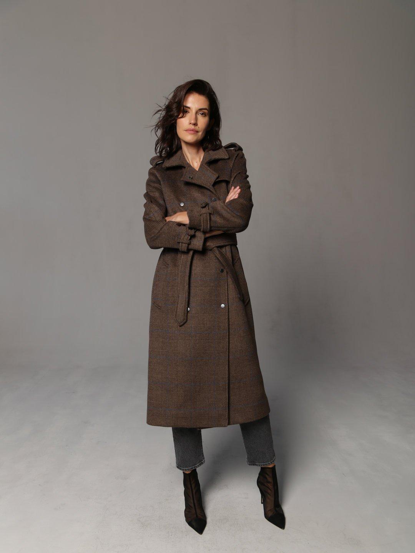 Пальто-тренч на кнопках коричневое_0