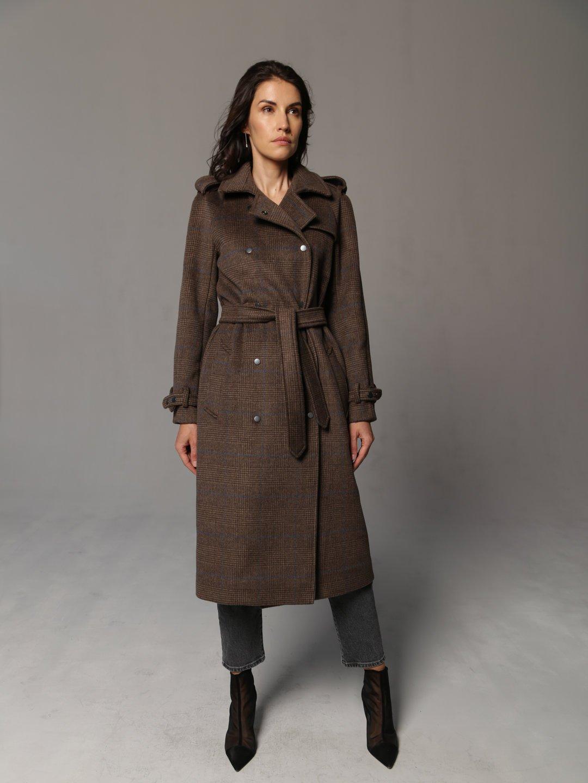 Пальто-тренч на кнопках коричневое_3
